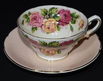 Vintage STANLEY Tea cup, Old pink, Teacup Flower,Fine Bone China, Pink Yellow Roses Teacup,Wide-Mouth Cup,peach teacup, England, collectible