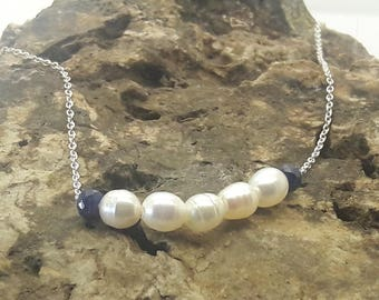 Pearl and Gem Sterling Silver Choker Necklace/Pearl Choker with choice of Sapphire Ruby Emerald Iolite Amethyst/Wedding Pearl Necklace