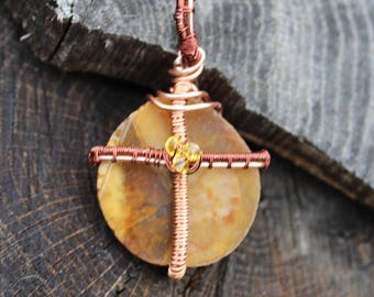 Copper Cross Wire Wrapped Pendant, Faith Inspired Copper Pendant, Cross, Copper and Stone Cross Pendant, Mixed Metal Cross Necklace