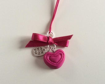Satin bow and Heart Necklace