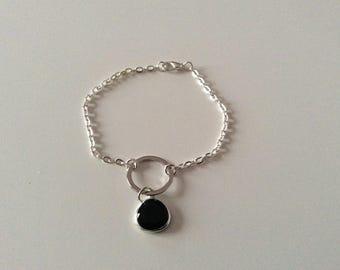 Rhodium, silver and Sapphire bracelet.