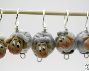 Anneaux marqueurs Les P'tits Moutons (midi) - gris blanc nacré gradient