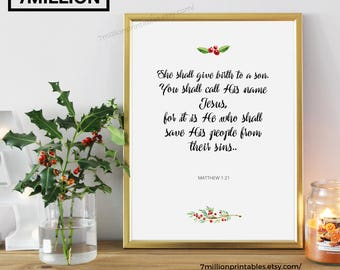 Matthew 1:21, She shall give birth to a son, Bible Quote Printable, Christian Poster,  Bible Verse Poster, Quote Christmas, Christian Art