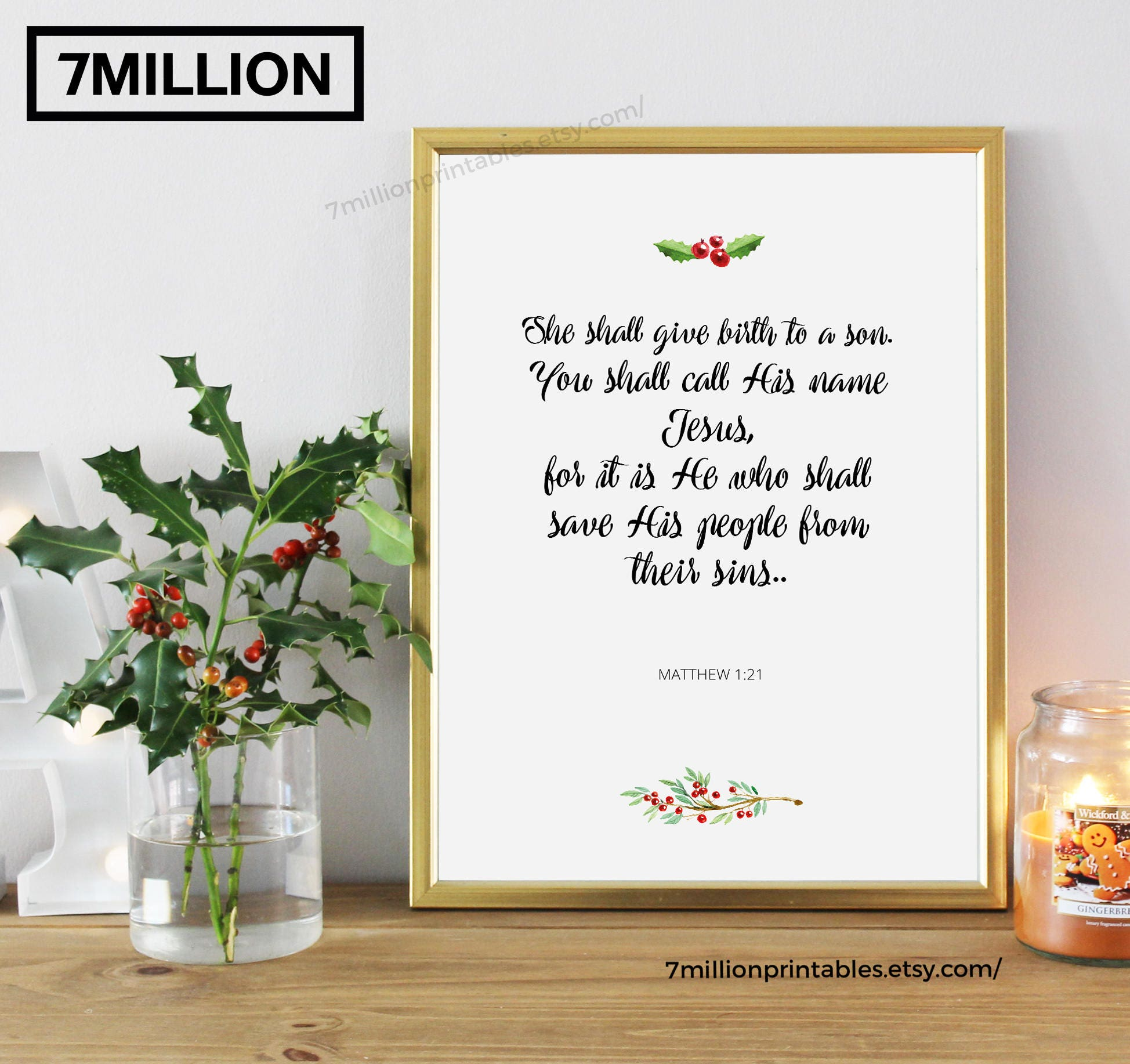 Matthew 1:21, She Shall Give Birth To A Son, Bible Quote Printable