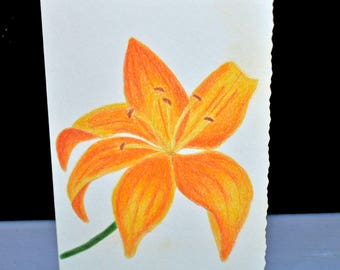 Hand-Painted Lily Greeting Card