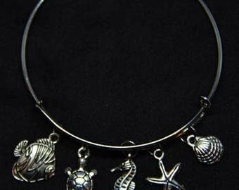 Under the Sea Themed Expandable Bangle Charm Bracelet/Ocean Lover/Sea/Wire