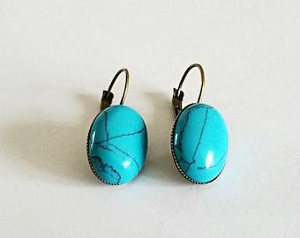 Retro earrings cabochon turquoise gem stone, p brass bronze