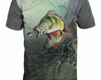 Men's 3d Print t-shirt, Short Sleeve Casual T-shirt, Graphic Slim Fit Tee Shirt, Funny Gift For Him, Fishing Perch  Logo T-shirt
