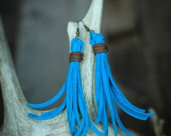 Courtney Turquoise Fringe Earrings | Leather Earrings | Birthday Gift | Anniversary | Gifts under 25 | Handmade | Gifts for Her