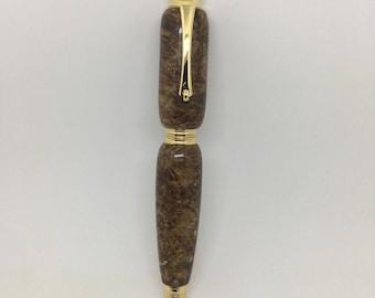 Chechen Burl & Copper/Bronze-Tone Acrylic Metro Rollerball Pen