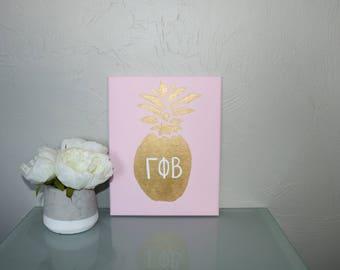 Pink & Gold  Pineapple Sorority Canvas