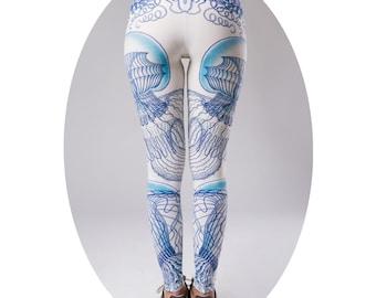 Womens leggings, yoga leggings, Yoga Pants, Gym Leggings, Workout Leggings,Meditation Clothes, blue leggings, Colorful leggings