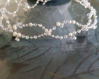 Crystal headpiece, crystal wreath, pearl headpiece, pearl wreath, bridal headpiece, bridal wreath, crystal tiara, wedding hair jewelry