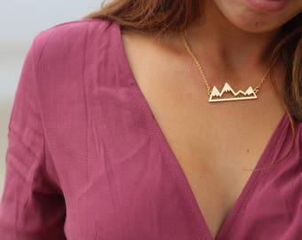 Gold Mountain necklace, Snowy Mountains, Golden Mountain Range Necklace
