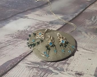 Swarowski Crystal Necklace and Earrings Set,Gift for Her