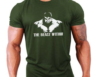 The Beast Within Hulk Mens Bodybuilding T-Shirt - Gym / Workout / Fitness