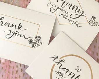 Set of 3 thank you cards // Floral and gold // Greeting cards