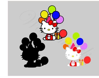 Hello Kitty Party SVG and Studio3 Cut File & PDF Hello Kitty Cricut Designs - Logo Birthday Cutouts Silhouette Files Downloads Decals SVG