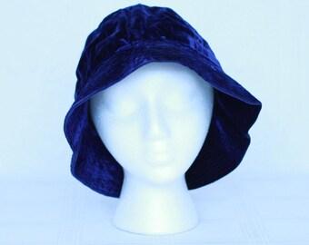 70's Yves Saint-Laurent blue velvet floppy hat