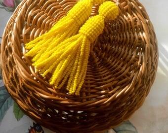 Yellow color/oscar de la rente/oscar de la renta/stud earring/beading dangle/handmade/beaded tassel earring/Unique Gift