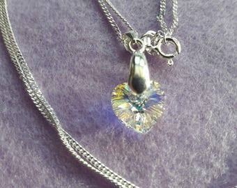 Necklace Heart Swarovski AB 925 Sterling Silver Panza 20 inch Chain