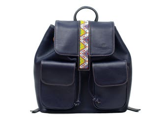 Embroiderd Leather BackPack  Blue - Wixárika Mexican Art