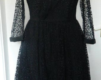 Vintage Black Lace Dress Occasion Party 3/4 Sleeves Size 12-14