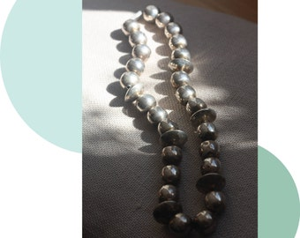 vintage mexican sterling silver bead necklace