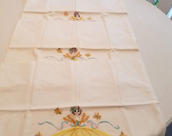 Vintage girls embroidered pillow cases