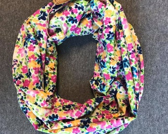 Bright Floral Chiffon Infinity Scarf
