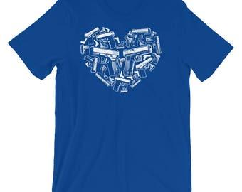 American Patriot Gun Lover 2nd Amendment Gun Rights Heart Shaped Handgun Short-Sleeve Unisex T-Shirt