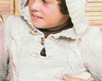 Children's Hooded Jumper, Knitting Pattern, Instant Download.
