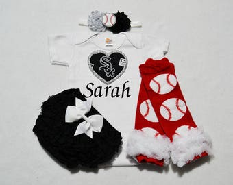 chicago white sox baby girl outfit - baby girl chicago white sox outfit - girls white sox baseball outfit - white sox baby girl gift