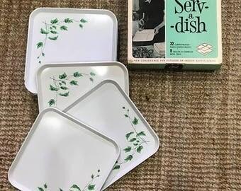 Set of 14!!  English Ivy Serv-a-Dish Enamel Metal Trays plus Original Box!!