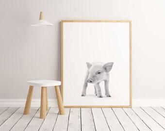 Pig Printable Wall Art Poster, Kids room decor, Nursery decor, Pig print, Black And White Pig art, Pig decor, Pig photography