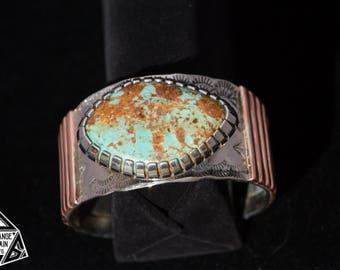 Sterling Silver • Copper • Turquoise • Cuff • Handmade • Wide Band • Bracelet • Southwest •Gem Grade• Kingman Turquoise • Handmade • Signed