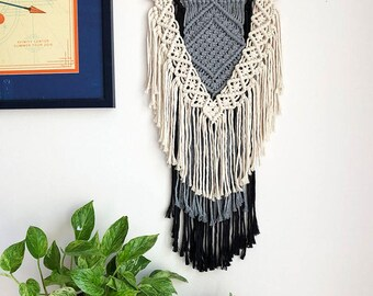 White, Gray, and Black Macrame Wall Hanging on a Wooden Dowel, Woven Wall Hanging, Boho Hippie Tapestry, Bohemian Decor, Statement Piece