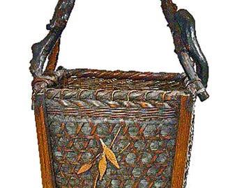 Antique Japanese Ikebana Bamboo Basket – Flower Arrangement Basket – Antique Bamboo Handwoven Basket – Collectible Basket – Root Handle -