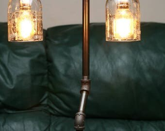 Black pipe lamps etsy for Black pipe light fixture