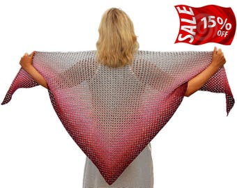 Knit Shawl, hand knitted shawl grey, hand knit wrap red