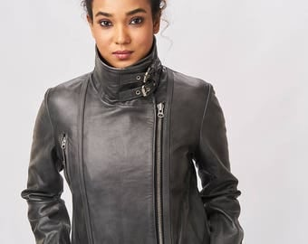 Leather Jacket with Buckle Collar - Graphite