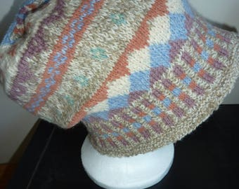 Fair Isle hat, hand knitted.  wool,  natural shades.