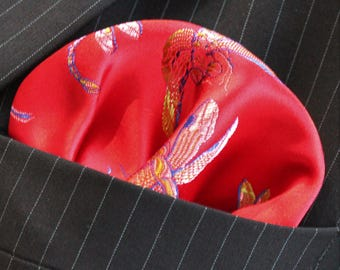 Hankie Pocket Square Handkerchief Iridescent Dragonfly RED GOLD - UK Made