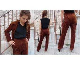 Vintage 90's brown shammy Woman suit with skirt/trousers - handmade unique piece [Caramel]