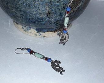 Turquoise beaded sterling silver Kokopelli Hopi Indian dangle pierced earrings