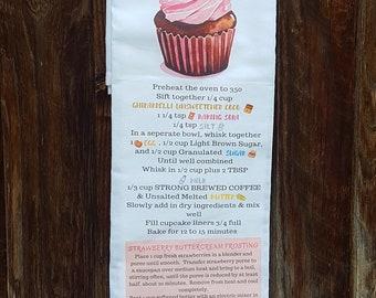 Flour Sack Towel/Recipe/Ghiradelli Chocolate & Strawberry Cupcakes/Free Shipping