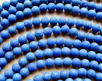 4mm Frosted Lapis Lazuli beads, full strand, natural stone beads, round, 40018