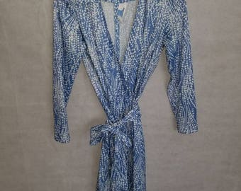 Women's Vintage Sears Blue & White, Long Sleeve, Wraparound Dress Size 12