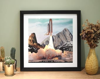 Rocket - Digital Collage Art Print Poster