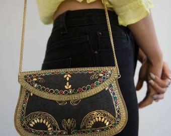Black Clutch Bag, Evening Clutch Bag, Glamorous Handbag, Gold Shoulder Bag, Stylish Black Handbag, Mosaic Tile Bag, Ethnic Handbag, Prom Bag